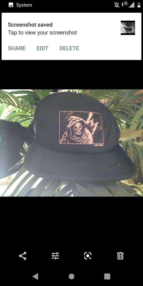 Brand New Vans Grimm reaper hat black snap back