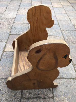 Wood dog magazine/book storage rack for Sale in Bonney Lake, WA