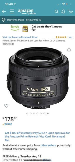 Nikon 35mm f/1.8G AF-S DX Lens for Nikon DSLR Cameras for Sale in San Fernando, CA
