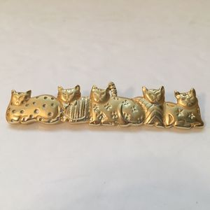 Vintage Signed AJC Gold Tone Kitty CAT Brooch Pin 5 Cats Tabby Siamese Kitten for Sale for sale  Everett, WA