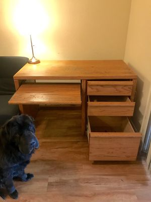 Solid oak desk! Comes w end table if you want for Sale in Las Vegas, NV