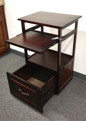 Brand new computer desk stand with pullout keyboard tray and storage drawer and wheels 21x16x34 inches for Sale in Whittier, CA