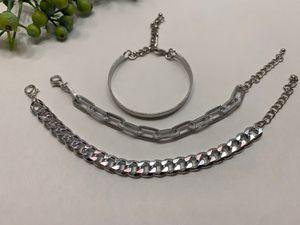 Punk Style 3pcs/Set Curb Cuban Multilayer Link chain bracelet, Silver Color for Sale in Irvine, CA