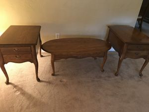 Solid oak pair of end tables and coffee table for Sale in Pittsburgh, PA