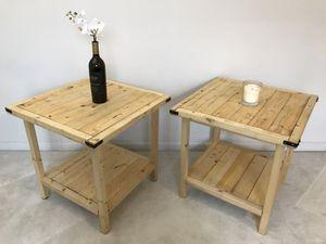 Natural Wood Side Table Set for Sale