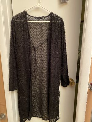 Beautiful Revue Black Sheer Dressy Cardigan!! Size Med! for Sale in Streamwood, IL