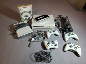 Microsoft Xbox 360 w HD DVD Player, 4 Controllers, headphones, cables for Sale in Bellevue, WA