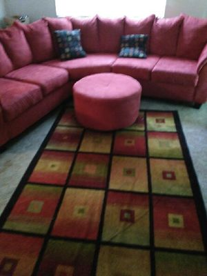 Couch and ottoman, rug and picture for Sale in Hyattsville, MD