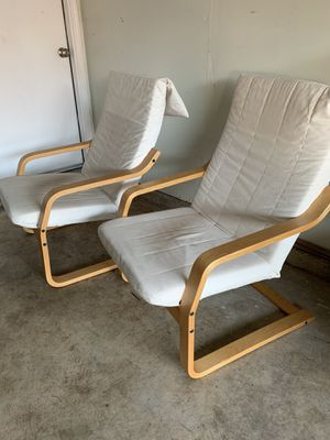 2 OUTDOOR WOOD CHAIRS WITH WHITE CUSHIONS for Sale in Sacramento, CA