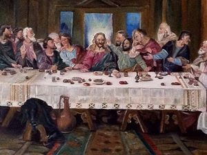 Last supper oil painting 3ft wide 2ft tall for Sale in Alexandria, VA