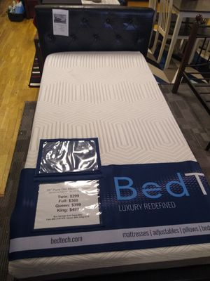 Twin size platform bed frame with 10 inch BedTech Pure Gel Memory Foam Mattress included for Sale in Glendale, AZ