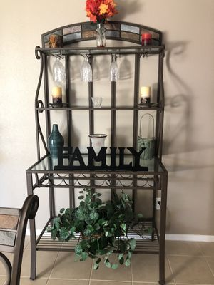 Bakers/wine rack with stone inlays for Sale in Beaumont, CA