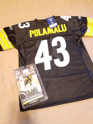 All for $50 new adult size 48 stitched polamalu steelers Jersey and action figure for Sale in Tacoma, WA