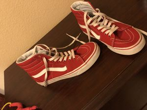 Vans men size 6 women size 7.5 boys kids Clothes size 4t Good Condition Shirts , shorts , pants hole box 45 vans 35 twin boots 50 paid 150 for the bo for Sale in Sanger, CA