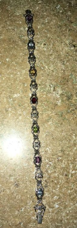 .925 Sterling Silver Women's bracelet with colored stones for Sale in Chandler, AZ