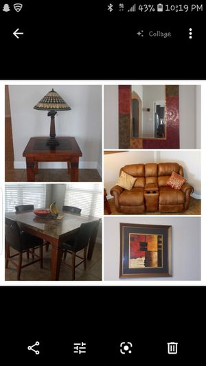 (2) end tables $45 ea; mirror $130; picture frame $25; (Lamps - SOLD; kitchen table and chairs -SOLD; loveseat - $150 SOLD) for Sale in Creedmoor, TX