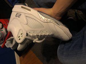 White metallic jordan 5s for Sale in Crownsville, MD