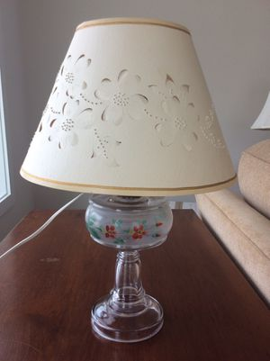 "Hand- painted glass ""antique"" lamp with cut-out lampshade, which beautifully lights up. The shade is a creamier color than pictures show. The glas for Sale in Odenton, MD"