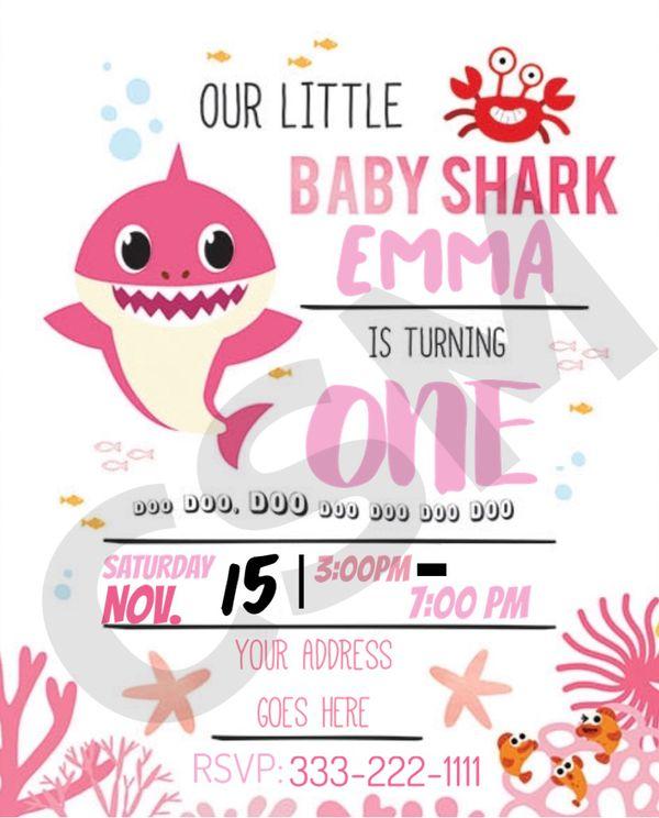 GIRL BABY SHARK DIGITAL INVITATION
