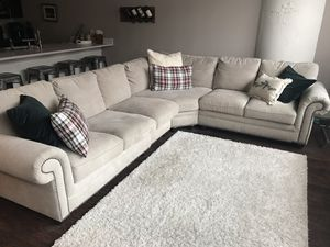 Studded beige sectional couch, 3 years old for Sale in Pittsburgh, PA