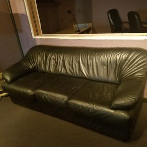 Like new black couches & chair around coffee table are futons; stand-alone black couch is ready for your living room for Sale in Seattle, WA
