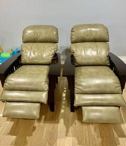 2 LA-Z-BOY Eldorado High Leg Recliner Genuine Leather $500 For 2 for Sale in Skokie,  IL