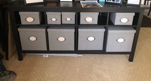 Ikea Hemnes console table with grey bins for Sale in Fairfax Station, VA