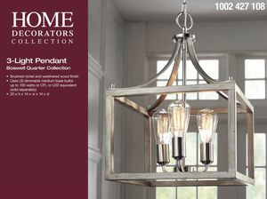 Home Decorators Collection Boswell Quarter 14 in. 3-Light Brushed Nickel Chandelier with Painted Weathered Gray Wood Accents- BRAND NEW IN BOX for Sale in San Antonio, TX