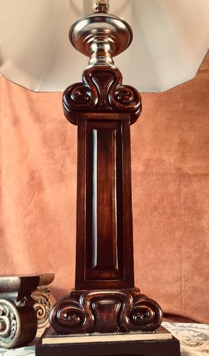 Gorgeous vintage carved wood desk / floor lamp H36xW8xD5.5 inch for Sale in Chandler, AZ