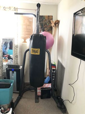 Fitness Set - Punching Bag, (2) 35lb Disk Weights, (1) 10lb Disk Weight, (1) 5lb Disk Weight, Speed Bag Attachment Arm for Sale in Los Angeles, CA