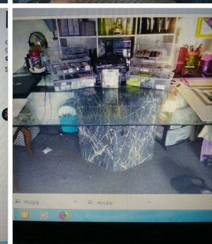 Glass kitchen table with granite center piece for Sale in Pensacola, FL