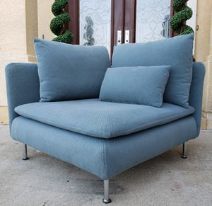 Lk NEW Ikea Turquoise Corner Section Couch Seating Chair Armchair Chaise + Removable Cover for Machine Washable for Sale in Monterey Park, CA