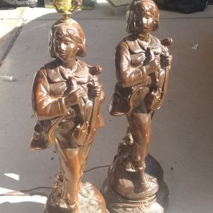 Marbro Brass Young Boy With Violin Matching Lamps for Sale in Phoenix, AZ