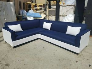 NEW 7X9FT DOMINO NAVY FABRIC COMBO SECTIONAL COUCHES for Sale in Chula Vista, CA