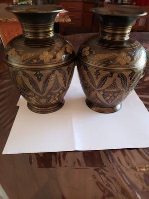 Beautiful pair of brass design flower vases for Sale in New Brunswick, NJ