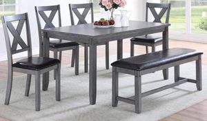 Dining set includes dining table, 4 Chairs& Bench on sale $399 avaliable colors Espresso finish and grey finish. We carry other styles as well as you for Sale in Chino, CA