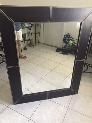 Z Galleria mirror with leather frame 42 x 52 for Sale in Fort Lauderdale, FL