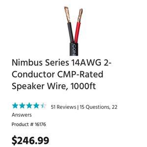 Nimbus Series 14AWG 2-Conductor CMP-Rated Speaker Wire, 1000ft for Sale in St. Louis, MO