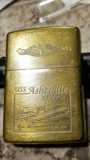 Zippo 1932 1991 USS ASHEVILLE SSN 758 Solid Brass Lighter USED USA Navy Submarine for Sale in San Fernando, CA