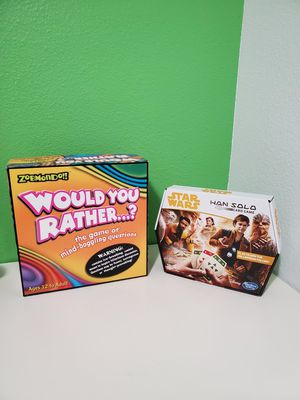 Game Board Would You Rather And Star Wars Han Solo for Sale in Portland, OR