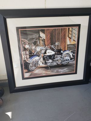 Beautiful Harley-Davidson picture in frame for Sale in Fresno, CA