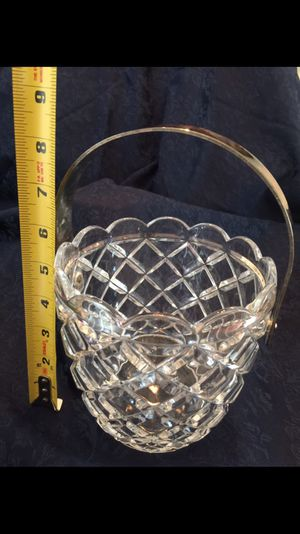 Glass bucket, silver metal handle and cross cut glass shape. May be crystal? for Sale in Cumming, GA