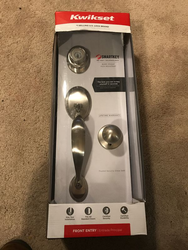 Brand new Kwikset satin nickel front entry with smart key technology