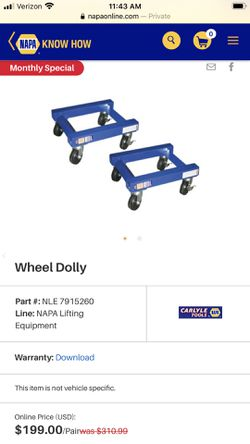 Napa 1250# wheel dollys for Sale in Montesano,  WA