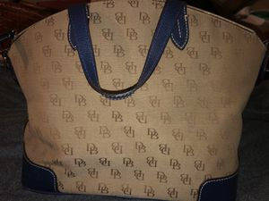 Dooney & Bourke domes satchel brown and blue.  No strap. for Sale in Tampa, FL