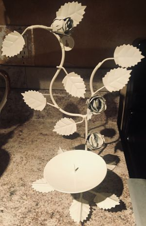Leaf & Roses Elegant White Wall Sconce & Candle Holder for Sale in Ellenwood, GA