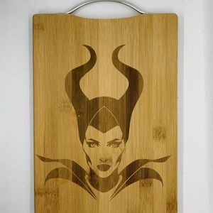 Maleficent laser engraved bamboo high quality cuttingboard valentines gift for Sale in Los Angeles, CA