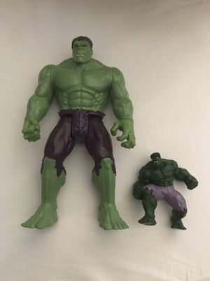 Marvel Comics Figures Big Hulk Around 12 Inches Tall Small Hulk Around 4 Inches Tall Good Condition Both For $15 for Sale in Reedley, CA