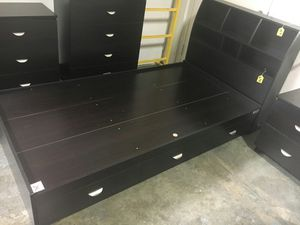 Twin Size 3-Drawer Storage Bed Frame with Bookcase Headboard, Espresso for Sale in Santa Ana, CA