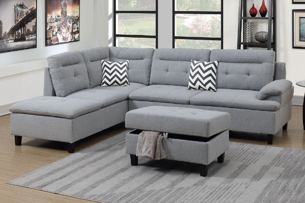 Brand New Grey Linen Sectional Sofa Couch + Storage Ottoman
